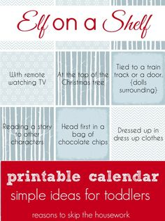 Elf on a Shelf Calendar #Christmas #kids #children #family #tradition