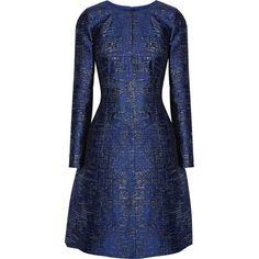 Oscar de la Renta Metallic silk-blend jacquard dress found on Polyvore featuring dresses, платья, blue, fit and flare dress, structured dress, woven dress, blue metallic dress and blue dress