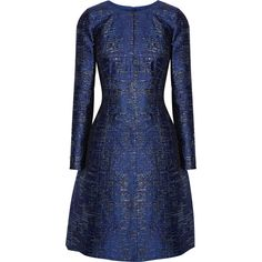 Oscar de la Renta Metallic silk-blend jacquard dress ($2,845) ❤ liked on Polyvore featuring dresses, robes, short dresses, vestido, blue, jacquard dress, metallic jacquard dress, metallic dress, oscar de la renta dresses and blue fit and flare dress