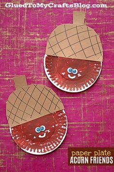 Paper Plate Acorn Friend - Fall Kid Craft Idea Paper Plate Acorn Friends {Kid Craft} - It has a fall theme to it and it can be easily in-cooperated in to your Thanksgiving plans, to keep the kids busy. Fall Arts And Crafts, K Crafts, Daycare Crafts, Paper Plate Crafts, Fall Crafts For Kids, Paper Crafts For Kids, Thanksgiving Crafts, Winter Craft, Summer Crafts