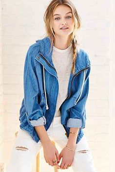 BDG Chambray Drapey Bomber Jacket - Urban Outfitters