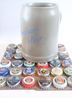 German Beercap Coasters - Set of 4 in Marble Brown  by SchickieMickie. Great for the Man Cave... or just for summer entertaining!