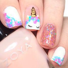 unicorn nails designs kids nail art ideas unicorn and glitter Girls Nail Designs, Short Nail Designs, Cute Nail Designs, Cute Nail Art, Cute Nails, Pretty Nails, My Nails, Unicorn Nails Designs, Unicorn Nail Art