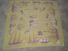 AMAZING vintage silk scarf JACQMAR 1930s/40s THE QUEENS SHIPS immaculate   eBay