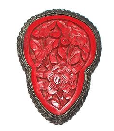 Vintage Handmade carved Cinnabar lacquer  Silver Pendant