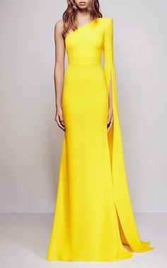 Aurore Satin Crepe Split One Shoulder Long Sleeve Fishtail Gown  | Moda Operandi