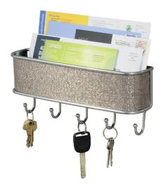 InterDesign Wall Mount, Mail and Key Rack, Metallico