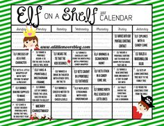 2017 Elf on the Shelf Calendar with daily Elf on the Shelf ideas for to inspire your Christmas season with free printables and tutorials