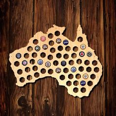 Australia Beer Cap Map (€33) ❤ liked on Polyvore featuring home, home decor, wall art, personalized home decor, map wall art, home wall decor and personalized wall art