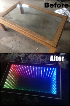 Infinity Mirror / potential diy patio floor green house garden - with plexi glass floor (ceiling), greenhouse (decorative halogen) lights, and drawers to pull out garden plants to harvest and water. Infinity Mirror Table, Infinity Spiegel, Deco Led, Mirrored Coffee Tables, Deco Nature, Diy Mirror, Mirror Glass, Diy Patio, Diy Table