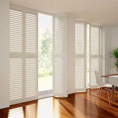 White DIY Plantation Shutters Blinds Online Australia for Windows Modern Shutters, White Shutters, Interior Shutters, Window Shutters, Cedar Shutters, White Shutter Blinds, White Blinds, Shutter Doors, Blinds For Large Windows
