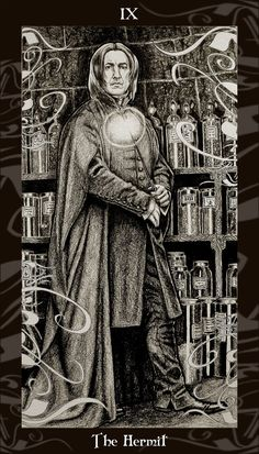 (via HP Tarot - 9 The Hermit by *Ellygator on deviantART)