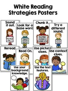 Shop reading comprehension materials, reading fluency passages, phonics activities and literacy education resources. Reading Strategies Posters, Reading Posters, Guided Reading Groups, Reading Intervention, Kindergarten Reading, Teaching Strategies, Reading Activities, Teaching Reading, Reading Comprehension