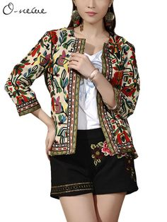O-NEWE Women Ethnic Printed 3/4 Sleeve Short Cardigan Jacket