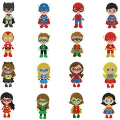 Superhero and Super Girls Full Fill Embroidery Designs