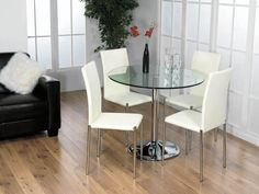 Small Round Glass Dining Table Sets for 4 Chair