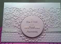 merry christmas embossing folder | Pearl wedding anniversary card using a simple dot embossing folder and ...