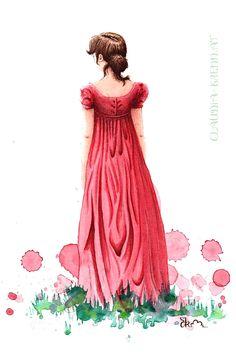 Watercolor Illustration. Watercolor Illustration, Watercolor Art, Elizabeth Bennet, Pride And Prejudice, Portfolio, Jane Austen, Art Ideas, Disney Princess, Drawings