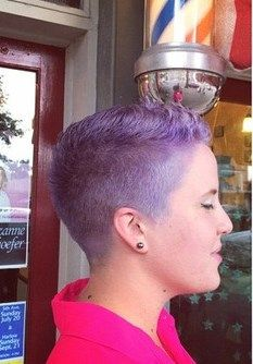 short barbershop summer cut in purple