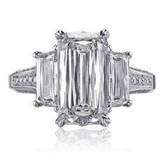 Christopher Designs ring with Crisscut Emerald center and Trapezoid sides surrounded by round diamonds Emerald Cut Diamonds, Round Diamonds, Diamond Rings, Diamond Cuts, Christopher Designs, Romancing The Stone, Diamond Wedding Sets, Dream Ring, Diamond Are A Girls Best Friend