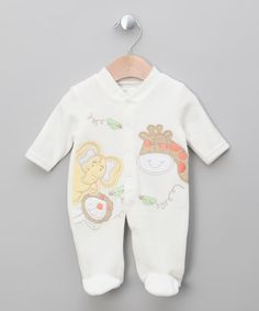 Take a look at this Ecru Critter Velour Footie by pitter patter on #zulily today!