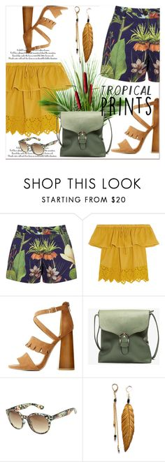 """tropical print short....."" by nihal-imsk-cam ❤ liked on Polyvore featuring Penfield, Madewell, Qupid, Arizona, tropicalprint and tropichot"