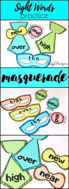 Looking for a unique way to practice SIGHT WORDS in Kindergarten and Grades 1-2? Why not use a masquerade theme? Masks, ties, bow ties, bracelets...Everything to practice reading! Activities are perfect for numerous holidays: Valentine's Day, Christmas, Father's Day, Mother's Day and more! | CrazyCharizma at https://www.teacherspayteachers.com/Store/Crazycharizma