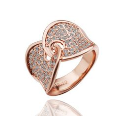 $5.85 - Plated Rose Gold Thumb Shape Crystal Ring - WHOLESALE JEWELRY - Wholesalerz.com
