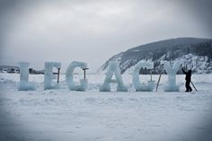 """Nicole Dextras, """"Legacy"""", outdoor installation on the Yukon River, 2009 during an Art Residency at the Klondike Institute of Art, Dawson City Yukon. LEGACY refers to the landscape as being the heritage of the inhabitants of this region, which was founded over a hundred years ago during the Gold Rush."""