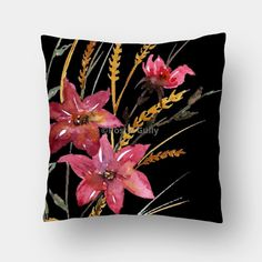 Black Floral Cushion Cover #homedecor #cushioncover #throwpillow #postergully #blackcushion