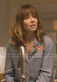 WornOnTV: Judy's floral embroidered chambray shirt on Dead to Me Curly Wurly, Long Hair With Bangs, Dead To Me, Cute Hairstyles, New Hair, Chambray, My Outfit, Hair Pins, Brown Hair