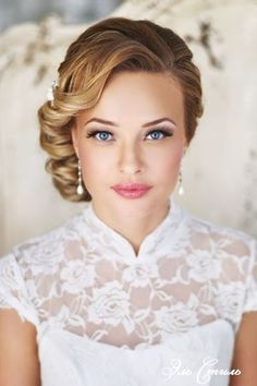 Wedding Hairstyles - Updo & neutral makeup;
