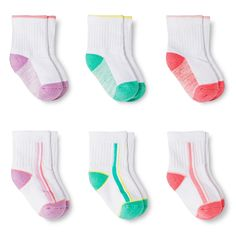 Baby Girls' Cushioned Ankle Crew Socks 6 pk Circo - Multicolored 12-24M, Size: 12-24 Months, Pink