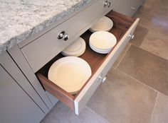 Contrasting internals, painted Grey drawer fronts with Walnut timber internals. Inframe Kitchen, Timber Kitchen, Cornforth White, Grey Drawers, Walnut Timber, Back Painting, Grey Kitchens, Farrow Ball, Drawer Fronts