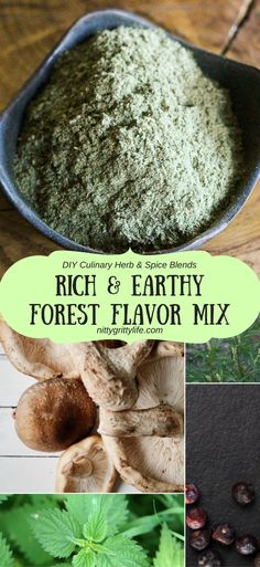 This blend of dried shitakes, nettle, mugwort, juniper berries, and garlic has forest flavor and tastes of all its dark, earthy, and rich goodness.  This herb blend makes an outstanding, nourishing broth and brings rich forest flavor to any dish it's added to. via @nittygrittylife