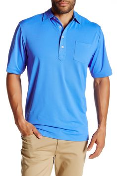Solid Stretch Mesh Polo