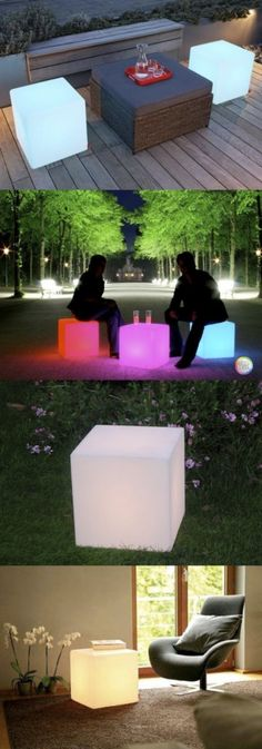 LED Cubes for the garden, remote controlled, multi color. Available in our webshop