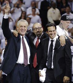 The Heat Crew: Pat Riley,David Fizdale, Erik Spoelstra Celebrate NBA Title Erik Spoelstra, Pat Riley, After Game, Nba Championships, Game 7, Sports Figures, San Antonio Spurs, Miami Heat, Nba Basketball
