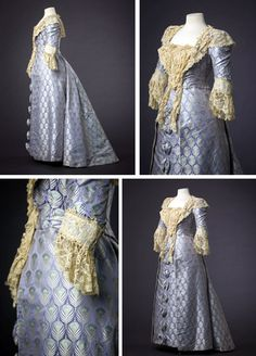 Evening gown, Jean-Philippe Worth, ca. 1895. Brocaded silk satin with turquoise & silver peacock feathers on lilac ground. Two-piece gown is reminiscent of 18th century open robes. It has open-front skirt and ¾-length sleeves trimmed with lace engageantes. Lined with aqua silk taffeta, bodice has boned seams and cotton tapelace trim. Similar gown, from 1894, in Metropolitan Museum of Art. Mode Museum, Hasselt