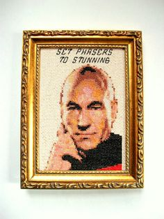 Set Phasers to Stunning cross stitch sampler, completed and framed in 5x7 secondhand frame  ---The Story---  Who doesnt love Patrick Stewart? Make it so.