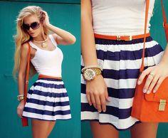 White Tank + Navy & White Striped A-line Skirt + Orange Skinny Belt + Orange Crossbody Bag + Gold Watch