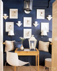 Navy and white alcove.
