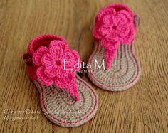 Uncinetto bambino Sandali, sandali, sandali fiore, Babucce ragazza, scarpette per neonati, bambino scarpe, rosa, 6-9 mesi, regalo, abbigliamento da spiaggia