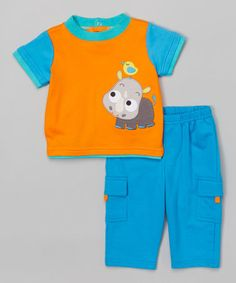 Loving this Orange Rhinoceros Tee & Pants - Infant on #zulily! #zulilyfinds