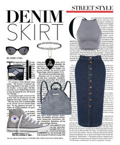 """""""Denim Skirt"""" by saramalesevic ❤ liked on Polyvore featuring Warehouse, Converse, Marc by Marc Jacobs, Christian Dior and Dorothy Perkins"""