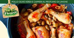 Pollo #olive verdi e capperi al profumo di limone. http://www.ficacci.com/ricetta-Pollo-olive-verdi-e-capperi-al-profumo-di-limone-399/ ★Vota la ricetta e vinci le olive★ Partecipa al concorso settimanale!
