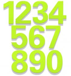 Stainless Steel Address Numbers powder-coat finished in Key Lime - heights with standoffs for a floating appearance. Address Numbers, Key Lime, Home Art, Steel, Limes, Steel Grades, Iron