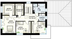 Samba V projekt - Piętro m² Samba, Two Story Homes, House Plans, Villa, Floor Plans, House Design, How To Plan, Story House, Houses