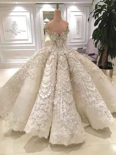 Luxury Ball Gown Wedding Dress Off the Shoulder Sparkly Crystals Beads Sequins Lace Appliques Luxurious Bridal Gowns with Long Train - Weddings: Dresses, Engagement Rings, and Ideas Wedding Dress Styles, Dream Wedding Dresses, Bridal Dresses, Gown Wedding, Lace Wedding, Wedding Venues, Princess Wedding Gowns, Trendy Wedding, Chanel Wedding Dress