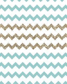 Blue and Gold Glitter Chevrons Stretched Canvas